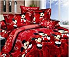 Mickey and Minnie Mouse King Queen Adults Cartoon Bedding Set Cotton Bed Sheet Linens Doona Duvet Cover/comforter Cover Sets (Red, Queen)