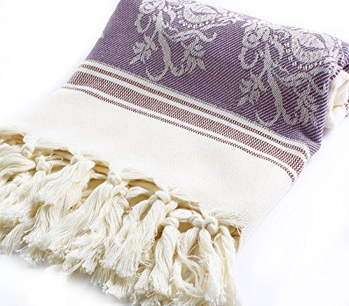 "Jacquard Pestemal Turkish Towel High Quality Cotton Bamboo Hamam Unisex By Cacala ""Purple"""