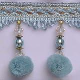 Wildgirl Pom Pom Trim Crystal-Like Beaded Curtain Fringe 13 Yards (Sky Blue Pompon) (Color: Sky Blue Pompon)