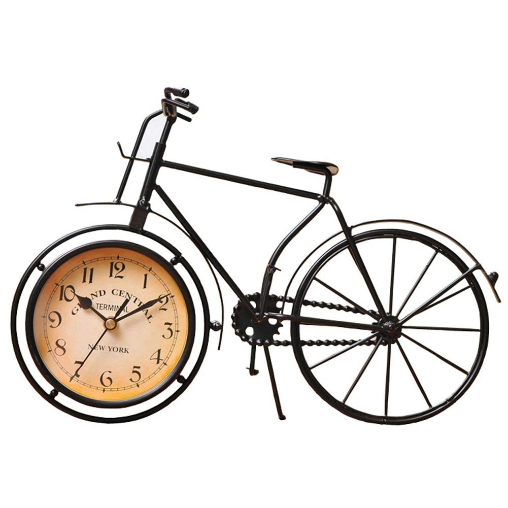 NEOTEND Handmade Vintage Bicycle Clock Bike Mute Black Table Clock Black Color 0