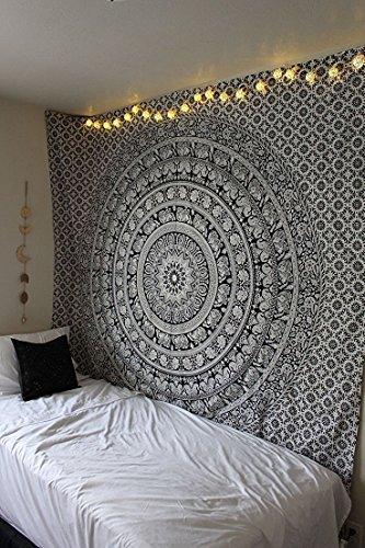 jaipurhandloom-tapisserie-murale-motif-mandala-motif-elephant-indien-noir-blanc-137-x-213-cm