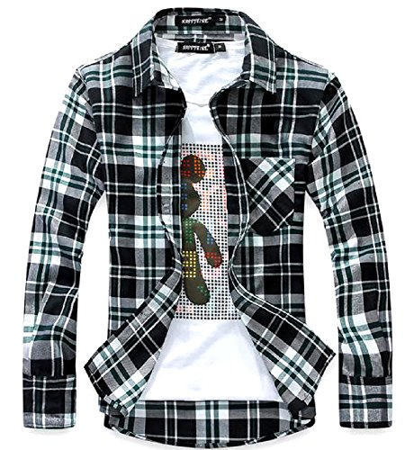 (ラロリオン)RAROLION ギンガムチェック ネルシャツ 長袖 メンズ(黒×緑, XL)