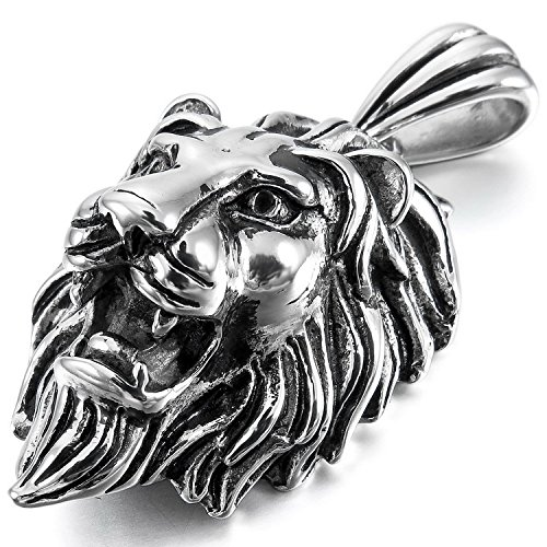 Letshopping® Lion Lionhead Titanium Steel Necklace Titanium Steel Pendant Necklace Titanium Steel Necklace Men's Stylish - 1