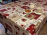"""Tovaglia Natale Cucina Soggiorno Patchwork """"Cuori e Renne"""" rettangolare cm 140x360, 18 persone- Made in Italy BIANCA"""