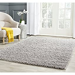 Safavieh Athens Shag Collection SGA119F Light Grey Area Rug, 5 feet 1 inches by 7 feet 6 inches (5\'1\