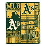 "MLB Team ""Vintage Baseball"" Lightweight Fleece Throw Blanket (Oakland Athletics, 50"" x 60"")"