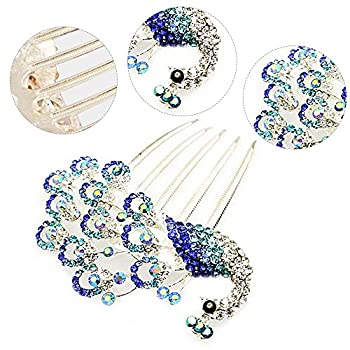 Colors Rhinestone Flower Peacock Tail Antique Tuck Hair Claw Hair Comb Hairpin