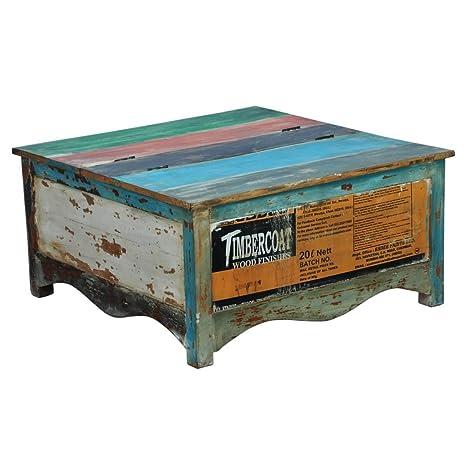 Couchtisch Wohnzimmertisch Sofatisch Fureso, Recyclingholz Massivholz Bunt, Breite 90 cm, Tiefe 45 cm, Höhe 90 cm