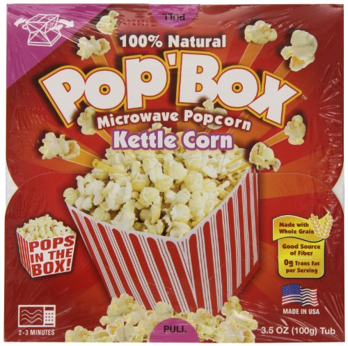 Pop'Box Microwave Popcorn, Kettle Corn, 3.5 Ounce (Pack Of 12)