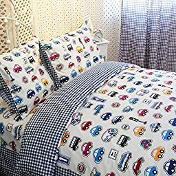 LELVA Cars Bedding Queen Size,train Bedding Sets,cute Kids Bedding Set,queen Size Cartoon Bedding,anime Bed Sheets,4pcs (1, Queen)