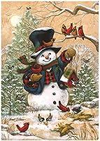 """Winter Friends Garden Flag Snowman & Cardinals Winter Seasonal Banner 12.5""""x18"""" from Briarwood Lane"""