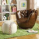 1PerfectChoice Youth Furniture Baseball Brown Glove Swivel Chair Baseball Ottoman Stool White