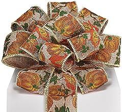 Pumpkin Burlap Ribbon With Orange Glitter - 25quot x 20 Yds