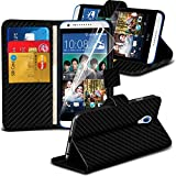 Executive Quality HTC Desire 620 Carbon Fiber Wallet Flip Case Cover Stand Holder Book + Free Gifts by Gadget Giant®