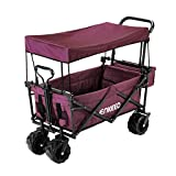 ENKEEO Foldable Utility Wagon Collapsible Sports Outdoor Cart with Removable Canopy, Large Capacity and Tilting Handle for Camping Beach Sporting Events Concerts, Red (Color: Wine)