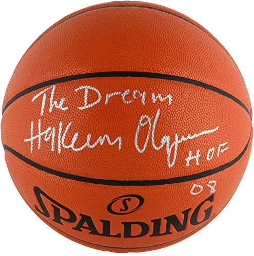 Hakeem-Olajuwon-Houston-Rockets-Autographed-NBA-Indoor-Outdoor-Basketball-with-The-Dream-HOF-08-Inscriptions-Fanatics-Authentic-Certified