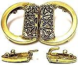 "Blodeuwedd Antique Gold Cloak Clasp or Belt Buckle 2"" x 1 & 1/8"""