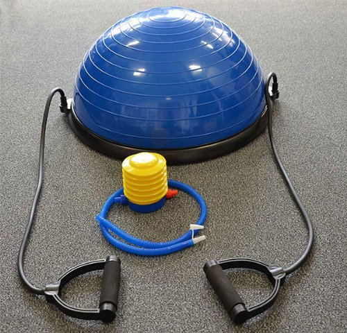 Balance Trainer - (modeled on the Bosu Balance Trainer), Next working day dispatch with 24-hour delivery service, Heavy duty suitable for Home and Gym, Workout Cords and air pump included