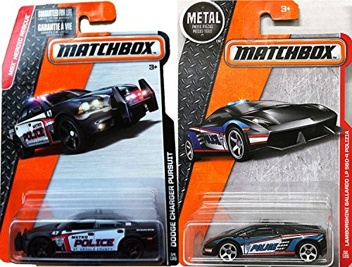 Police Lamborghini Matchbox 2016 Dodge Charger Pursuit Car Sheriff Patrol Heroic Rescue Team Gallardo LP560-4 Polizia - Black cars in PROTECTIVE CASES (Police Cars Matchbox compare prices)