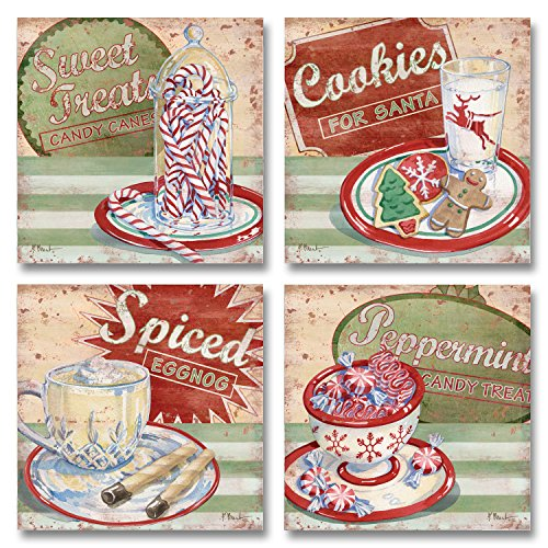 Holiday Treats I Joyful Santa Cookies, Eggnog, Candy Canes and Peppermint; Four 12x12 Poster Prints