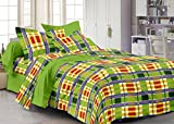Story@Home Candy Plaid Print Cotton Kids Double Bedsheet with 2 Pillow Covers - Multicolor