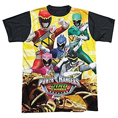 Power Rangers Charged For Battle All Over Print Black Back T-Shirt