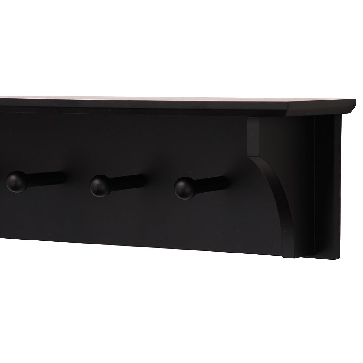 """Kiera Grace Foster Wall Shelf with 5 Pegs, 24"""" by 5.5"""", Black"""