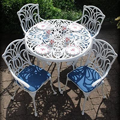 Leisuregrow Norfolk 4 Seater 100cm Round Aluminium Table with White Armchairs - Metal Garden Furniture Set - 4 Seater Dining Set - Outdoor Patio Table and Chair Set