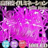 クリスマスイルミネーション★LED100灯★ストレートライト★点灯8パターン★最大5個連結可★ピンク