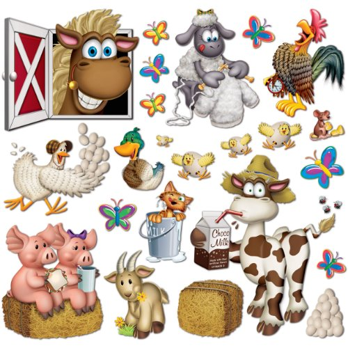 "Beistle 52108 Printed Farm Animal Props, 2.25"" to 35"", 23 Pieces In Package"