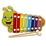 Xylophone Children's Early Educational Toys Baby Music Initiation Toy Drag Knock on The Piano Baby Pulling 8 Colors & Tones Adorable Octave Piano Wooden Pull Along Toy for Baby & Toddler (b) (Color: B)