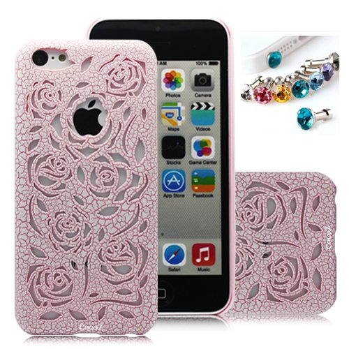 Cocoz® Releases Romantic Pink Rose Carved Palace Roses Fashion Design Hard Case Cover Skin Protector for Iphone 5c At&t Sprint Verizon Retail Packing(pc) -H003 from by 7-14 DAYS TO USA by CocoZ