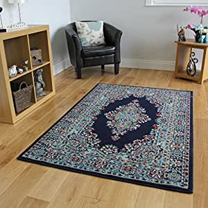 Navy blue vintage style design living room rug for Living room rugs amazon