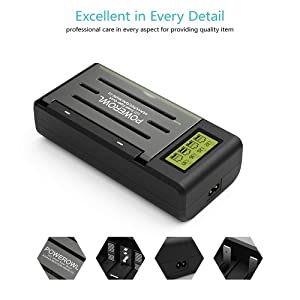 Powerowl Universal Battery Charger with LCD Large Screen (Recharge Pro, 3 Data Visualizations), for AA, AAA, C, D, 9V Ni-MH Ni-CD Rechargeable Batteries (Color: Black)