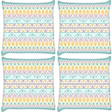 Snoogg Pack Of 4 Light Blue Aztec Digitally Printed Cushion Cover Pillows 12 X 12 Inch