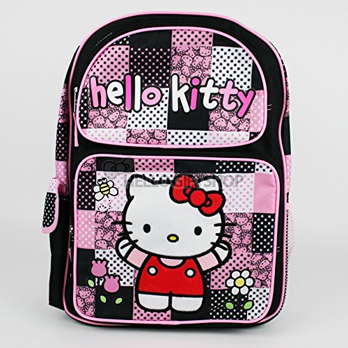 "Sanrio Hello Kitty Pink & Black Quilt 16"" Boys & Girls School Backpack"