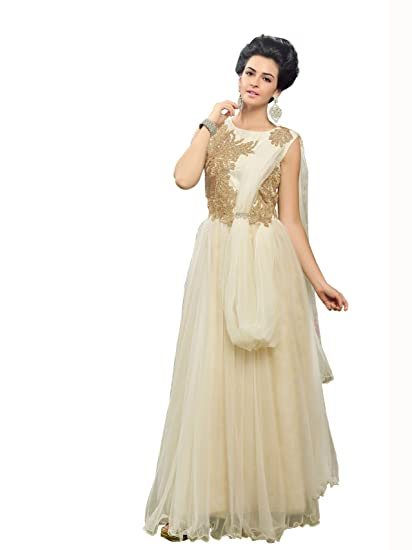 8b88704b0f Blissta White partywear Anarkali Long Net Gown Dress material available at  Amazon for Rs.1299