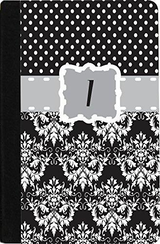 "Rikki Knighttm Rikki Knight Initial ""I"" Grey Black Damask Dots Monogrammed - Noble Nook® Colortm Notebook Case front-646404"