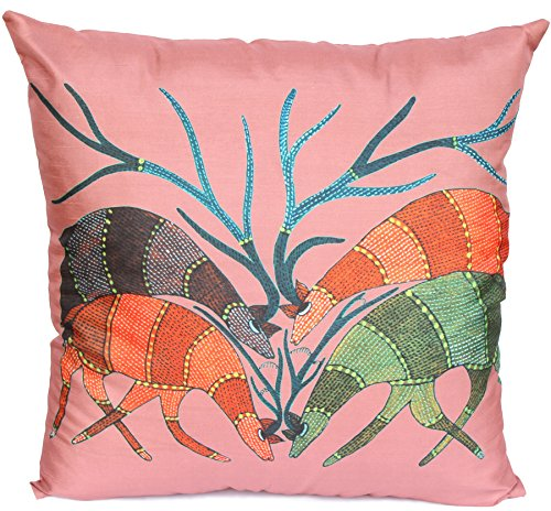 Souvnear 18 X 18 Inch Angry Antlers Throw Pillow Cover - Large Square Gond Art Cushion Covers In Indian Red Color - Very Unique Holiday Gifts From India front-607995