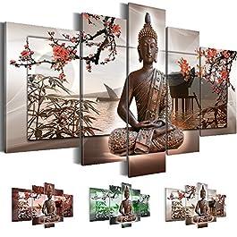 Bilder XXL 5032527c Bild auf Leinwand, Buddha, 170 x 100 cm, Leinwand, Feng Shui, 3 Farben zur Auswahl ! XXL Format! Fertig Aufgespannt TOP Leinwand - 5 Teilig - Buddha Wand Bild Bilder Kunstdrucke Kunsrdruck Wandbild