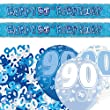Blue Silver Sparkle 90th Birthday Banner Party Decoration Pack Kit Set