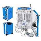 OUBO Brand GU-206S Portable Unit Built-in with 3-Way Syringe, Saliva Ejector, LED Light Cure Lamp High and Low Speed Air Turbine Tube 600W 4 Holes