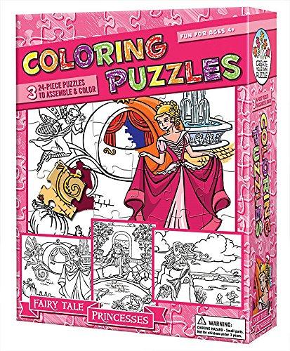Cobble Hill Coloring Puzzles: Fairy Tale Princesses Jigsaw Puzzle, 24-Piece