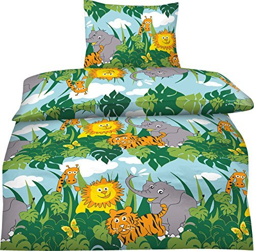 aminata kids s e kinder bettw sche 135x200 wilde tiere baumwolle zoo tiere safari urwald. Black Bedroom Furniture Sets. Home Design Ideas
