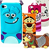Full-service iPhone 4/4s Case, 3D Cute Cartoon Disney Monster University Animals Soft Silicone Back Case Cover with Free Screen Protector & Stylus for Apple iPhone 4/4S - Monster Sulley