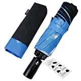 Automatic Compact Travel Umbrella with Reverse and Safe Lock Design, HQdeal Unbreakable Lightweight Foldable Umbrella Windproof Double Canopy Construction (Color: Sky Clouds)