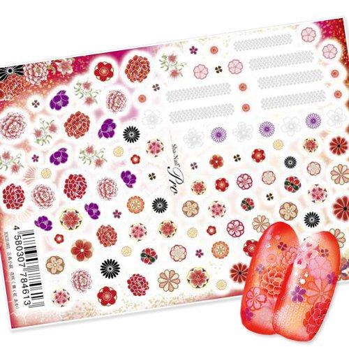 【写ネイル】 古典小紋 花咲く舞[紅 あか] 【全56種類】ネイルシール ジェルネイルに