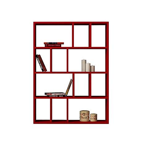 Libreria Con 4 Ripiani 122x90x25cm Laursen Donie Rosso