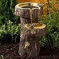 Small Solar Powered Water Feature Tree Trunk Bird Bath PC103