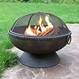 Sunnydaze 30 Inch Diameter Firebowl Fire Pit with Handles and Spark Screen
